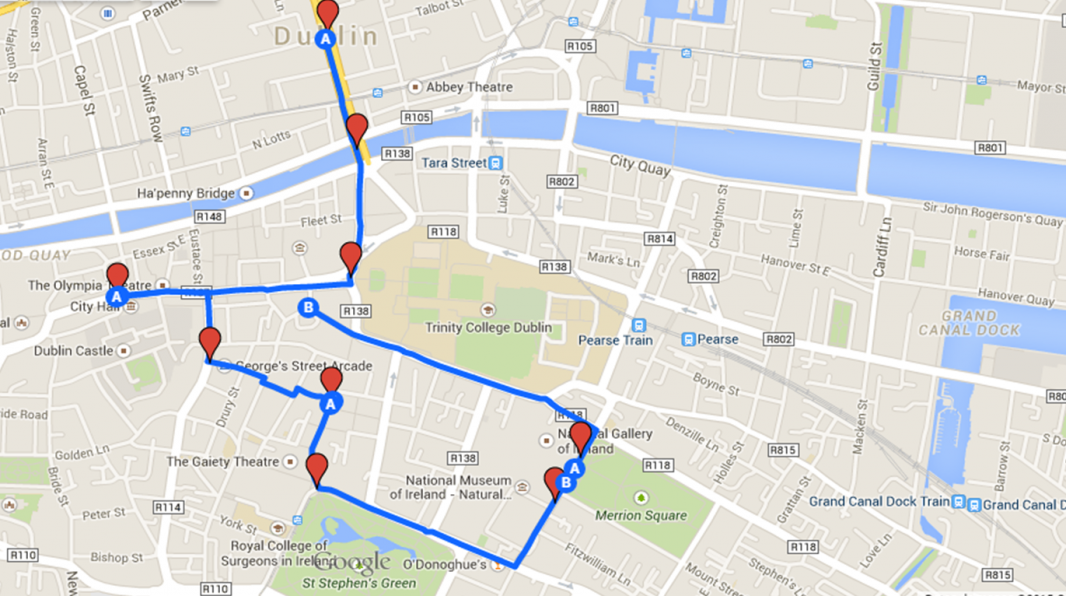Mapa del recorrido Día 1